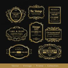 Retro logo frame design elements of gold distinctive vinage Vector Free Retro Logos, Vintage Logos, Text Design, Logo Design, French Logo, Badge Design, Banner Vector, Vintage Labels, Vintage Frames