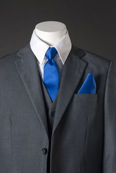 grey suit blue tie | For my Love & His Guys