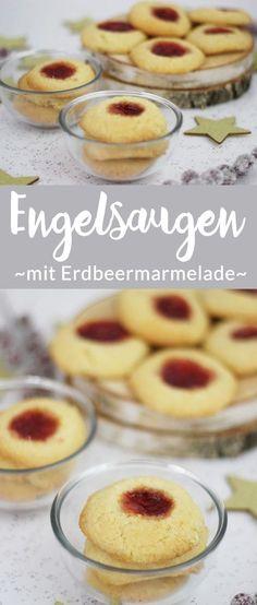 Weihnachtsplätzchen: Leckere Engelsaugen, auch Husaren Krapfen genannt, gefüllt mit leckerer Erdbeermarmelade. #recipe #weihnachten #plätzchen