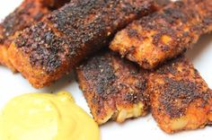 Blackened Cajun Tempeh with Hushpuppy Dipping Sauce Recipe! -vegan -nut-free -freaking delicous
