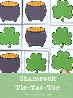 Shamrock Tic-Tac-Toe Early Learning Activities, Classroom Activities, Pot Of Gold, Tic Tac Toe, Child Love, Kids Playing, Card Stock, Holiday, Pattern