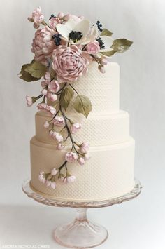 Blush Sugar Flower Cake by Andrea Nicholas. <3 this one! It's so beautiful, that I would not like to cut it!