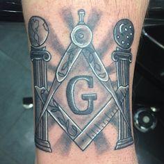 Black and White Masonic Tattoo