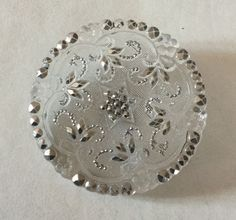 Antique Lacy Glass Large Silver Luster Button Old star Flower Foliage Old