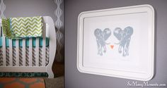 love the grey and wall decal