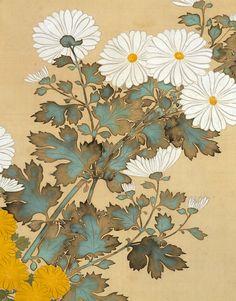 Detail: Chrysanthemums. Kiku zu byobu Japanese screen. Edo period. 19th century Suzuki Kiitsu (Japanese, 1796–1858)