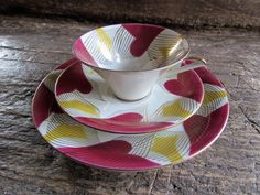 Vintage 1950s Mid Century Bavarian Cup and Saucer Trio or Luncheon Set