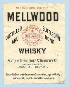 vintage Mellwood whiskey label Rye Bourbon, Rye Whiskey, Whiskey Room, Vintage Graphic Design, Vintage Type, Vintage Designs, Whiskey Label, Beer Label, Alcholic Drinks