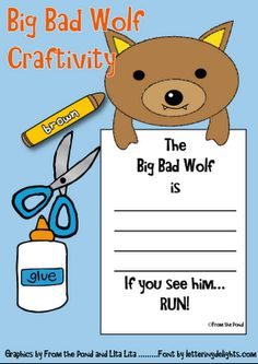 Big Bad Wolf Craftivity  FREE  Frog Spot Blog - could turn into a WANTED poster for Y2 T2 U3/4 english