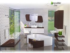 Hope you and your sims enjoy Sims 4 Cc Furniture, Dining Furniture, Bathroom Furniture, Bathroom Sets, White Bathroom, Modern Bathroom, Sims 4 House Building, Muebles Sims 4 Cc, Used Cabinets