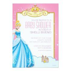 Disney Girl's Birthday Party Disney Princess Cinderella It's a Girl Baby Shower Card