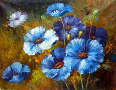 oil paintings of blue flowers - Google Search