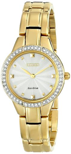 Citizen Eco-Drive Women's EX1362-54P Silhouette Analog Display Gold Watch *** Find out more details by clicking the image (This is an amazon affiliate link. I may earn commission from it)