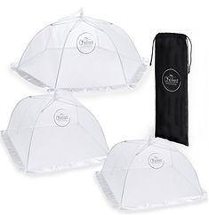 Chefast Food Cover Tents (3 Pack) - Combo Set of Pop Up Mesh Covers in 3 Sizes and a Reusable Carry Bag - Umbrella Screens to Protect Your Food and Fruit from Flies and Bugs at Picnics, BBQ and More