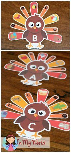 FREE Preschool Thanksgiving Centers Alphabet and beginning sounds matching activity