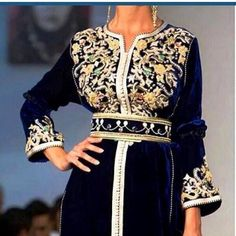 Navy blue caftan Moroccan Caftan, Moroccan Style, African Fashion, Indian Fashion, Arabic Dress, Arab Women, Caftan Dress, Embroidery Dress, Couture Dresses
