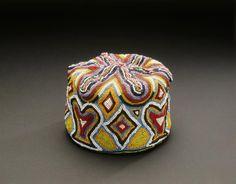Africa | Beaded cap from the Yoruba people of Nigeria | Glass beads, thread, cloth, burlap, cardboard