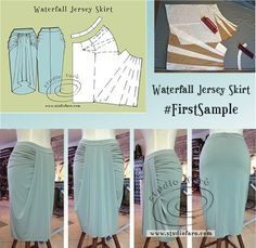 Waterfall Jersey Skirt - join us for the conversation.All Things Sewing and Pattern MakingStudio Faro HomeA Pattern making and fashion design studio where you can learn all the skills of the fashion industry. Dress Sewing Patterns, Sewing Patterns Free, Sewing Tutorials, Clothing Patterns, Sewing Projects, Techniques Couture, Sewing Techniques, Pattern Cutting, Pattern Making