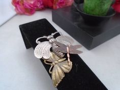 """Vintage Goldtone, Copper and Silvertone Metal with A Butterfly and other Insects - a very cool Pin. The Pin is 2""""T and 1.5"""" W 3 Metals 20% off Sale plus Free Shipping on all items in the store."""