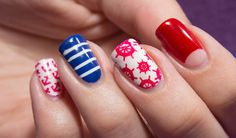 My nautical nails!OPI - Alpine SnowEssie - MesmerizedOPI - PassionRimmel - Heart on FireI
