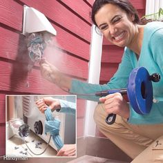 If you notice that it takes longer than normal for loads to dry in your clothes dryer, it may be time to clean out the vent. First detach the duct from behind the unit and then push a plumbing snake through your dryer vent from outside. Tie a rag securely Vent Cleaning, House Cleaning Tips, Diy Cleaning Products, Cleaning Solutions, Spring Cleaning, Cleaning Hacks, Cleaning Recipes, Cleaning Items, Toilet Cleaning