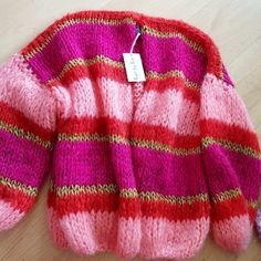 Soon @marieenmarie this gorgeous #kirobykim knit. #chunkyknits #newstyle #handknit #fashion #design #ordernow #newin #pink #fuchsia #gold #needit #musthave Knitting For Kids, Knitting Projects, Hand Knitting, Hand Knitted Sweaters, Mohair Sweater, Striped Sweaters, Kiro By Kim, Cotton Crafts, Knitwear Fashion