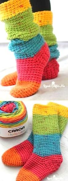 Crochet Slipper Boots, Crochet Baby Shoes, Crochet Gloves, Knitted Slippers, Crochet Beanie, Slipper Socks, Crochet Granny, Chunky Crochet, Chunky Yarn