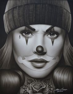 OG Payasa by Spider Latina Payaso Clown Woman Tattoo Canvas Art Print – moodswingsonthenet