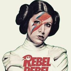 Carrie Fisher as Princess Leia as David Bowie as Ziggy Stardust. Pop art - Star Wars Art - Trending Star Wars Art - Carrie Fisher as Princess Leia as David Bowie as Ziggy Stardust. Theme Star Wars, Star Wars Art, Star Trek, Princesa Leia, Leia Star Wars, Carrie Fisher, Mayor Tom, Humour Geek, Profil Facebook