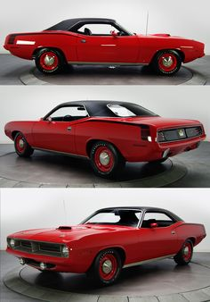 "1970 Plymouth HEMI 'Cuda in ""Rallye Red"": bone stock!! I love the ""Shaker"" hood, ""hockey stick"" stripe, ""Elastomeric"" rubberized bumpers, black vinyl roof, and the matching-color painted steel wheels with the ""dog dish"" hubcaps. Classic MOPAR!!"