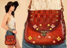 ViNtAgE 60's 70's Hand Tooled Floral LEATHER Handbag Purse Hippie Boho by hellhoundvintage