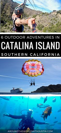 Things to do in Catalina Island parasailing zip lining scuba diving ropes course kayaking jeep tour. Our class will get the opportunity to explore through kayaking, labs, hikes, and kayaking. Scuba Diving Courses, Best Scuba Diving, Catalina Island California, California Travel, Cruise Vacation, Vacation Trips, Vacations, Adventurous Things To Do, Ropes Course