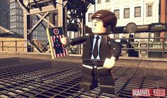 Agent Coulson with his Captain America trading card in LEGO Marvel Super Heroes. #EvenLEGOCoulsonLives