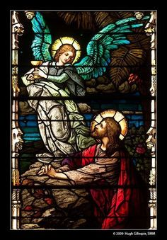 Vitrail ~ A stained glass window depicting Jesus during the agony in the garden of Gethsemane. Stained Glass Church, Stained Glass Angel, Stained Glass Windows, Catholic Art, Religious Art, Mosaic Art, Mosaic Glass, Image Jesus, Agony In The Garden