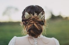 """Fastest way to turn your messy bun into a messy """"updo""""? Hair accessories."""