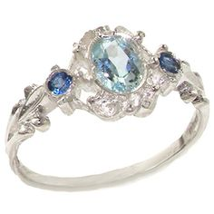 VINTAGE design 925 Solid Sterling Silver Natural Aquamarine & Sapphire Ring - Size 4 - Finger Sizes 4 to 12 Available - Suitable for Child, Girl, Teenager LetsBuySilver http://www.amazon.com/dp/B00F94UEWQ/ref=cm_sw_r_pi_dp_Yzarwb19FWWS2