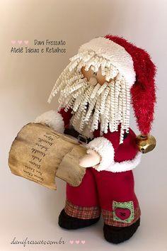 Ideias e Retalhos por Dani Fressato: Papai Noel de Tecido