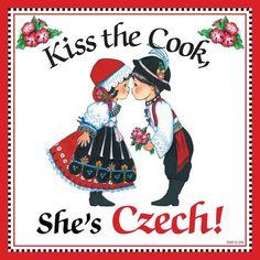 """""""Kiss Czech Cook"""" Decorative Czech Gift Tile - DutchNovelties  - 1"""