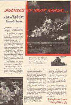 1940s Vintage Kodak Recordak Pearl Harbor Photo Photography Military WWII Ad
