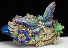 STANLEY HAGLER Brooch Butterfly Beaded Rhinestone Enamel Pin