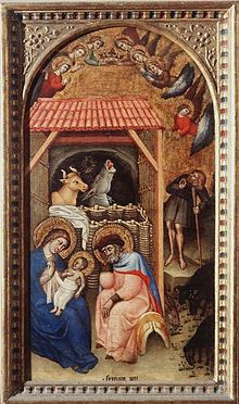 Simone dei Crocifissi ( Bologna, 1330 - 1399 ), Natività. Firenze, Galleria degli Uffizi.