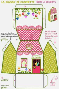Tinkerbell Free Printable House Shaped Box.