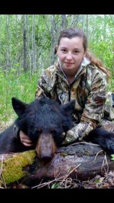 Time for you to kill your father and your mother, you little murderer who murders for fun. 12 year old Prois fan Randi Hynes with her first bear! Bear Hunting, Trophy Hunting, Hunting Girls, Animal Welfare Board, Spirit Bear, Factory Farming, Trophy Wife, Worthless, 12 Year Old