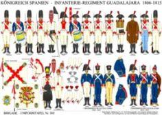 Planche 302: ROYAUME D'ESPAGNE: REGIMENT D'INFANTERIE GUADALAJARA 1806-1815