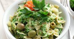Farfalle in crema di broccoli e olive verdi