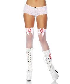 Weisse halterlose Strümpfe mit Satinschleife Krankenschwester Overknees Stockings weiss