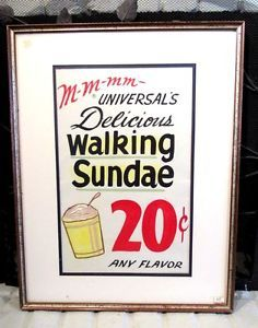 Vintage Universal's Walking Sundae Ice Cream Parlor Framed Advertisement | eBay #vintage #sundae #icecream #parlor #advertisement