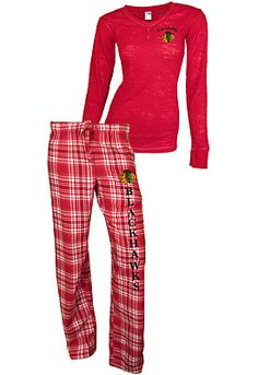 College Concepts Chicago Blackhawks Women's Crossroad Burnout Long Sleeve and Pant Set - Shop.NHL.com