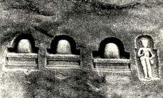 A boulder at the Ujhan village in Kashmir with 3 li~Ngas and pAshupata yogin; potential precursors of the kAlAmukhas who migrated from Kashmir to South India.