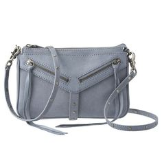 """botkier for Nine West Trigger Moto leather top zip crossbody handbag.  Front flap pocket with zipper details and wrap around studded lock strap.  Detachable shoulder strap with stud detailing.  Inside features a side zip pocket.  Measures approx 8 1/2 """" L x 6"""" H x 1"""" D.  Strap drop of 22""""."""